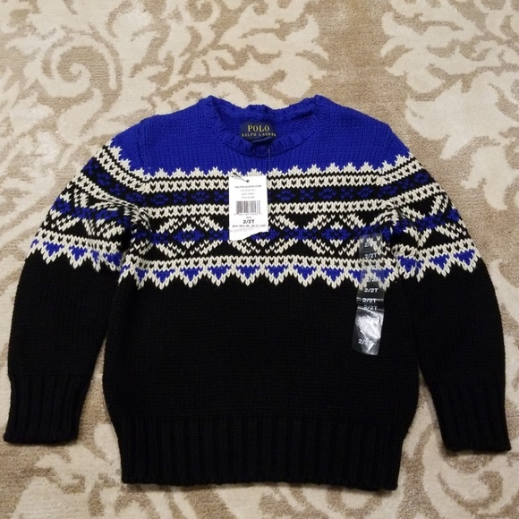 Polo Ralph Lauren Boys Sweater Size 2T or 5 Green Navy Red Pony NWT Cotton